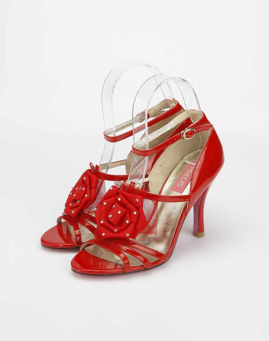 女款头层红色羊漆皮尖圆头高跟单鞋