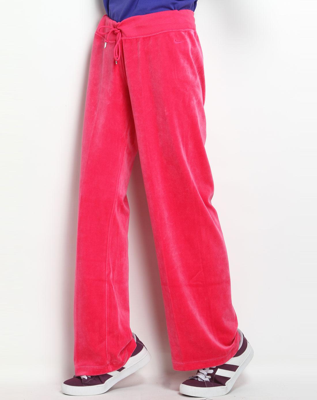 耐克nike女款玫红色个性休闲针织长裤439435-608