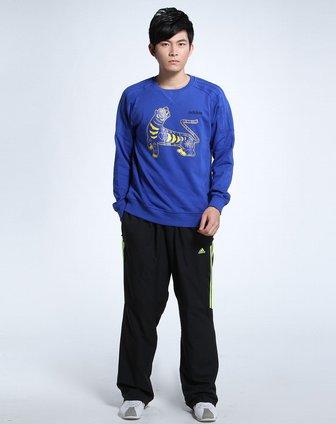 阿迪达斯adidas男款蓝色老虎图案长袖套头衫p36752