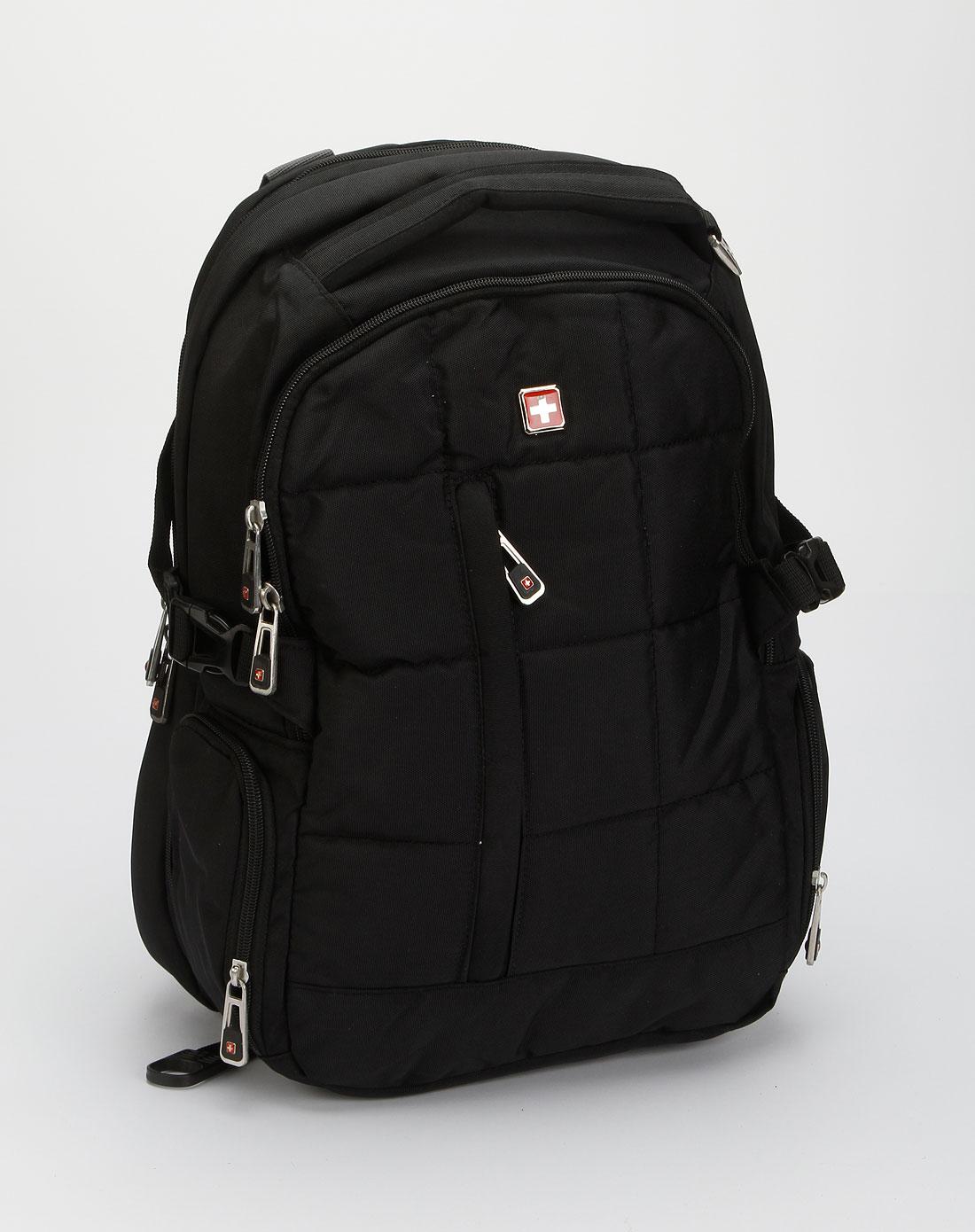 swisswin中性款黑色时尚电脑双肩背包swet8003bk