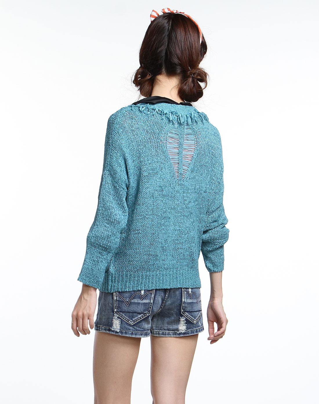 倾爱adimre蓝色时尚流苏设计长袖针织衫