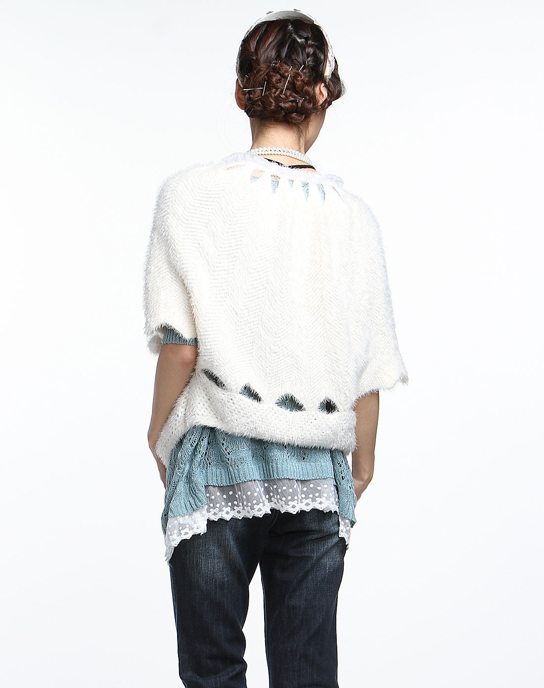 [ 倾爱 ] 米白色可爱中袖针织外套