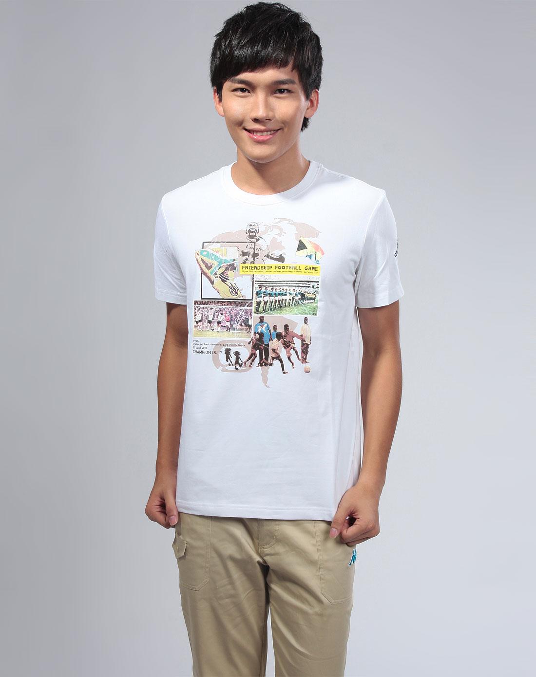 [ 卡帕 ] 白色圆领短袖图案t恤
