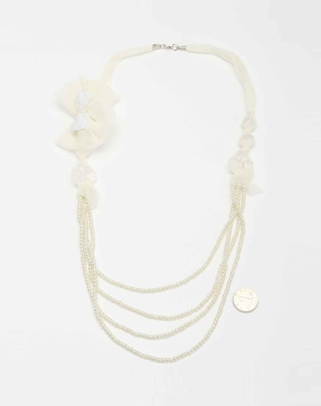 中中j-jong米白色蝴蝶结串珠装饰项链