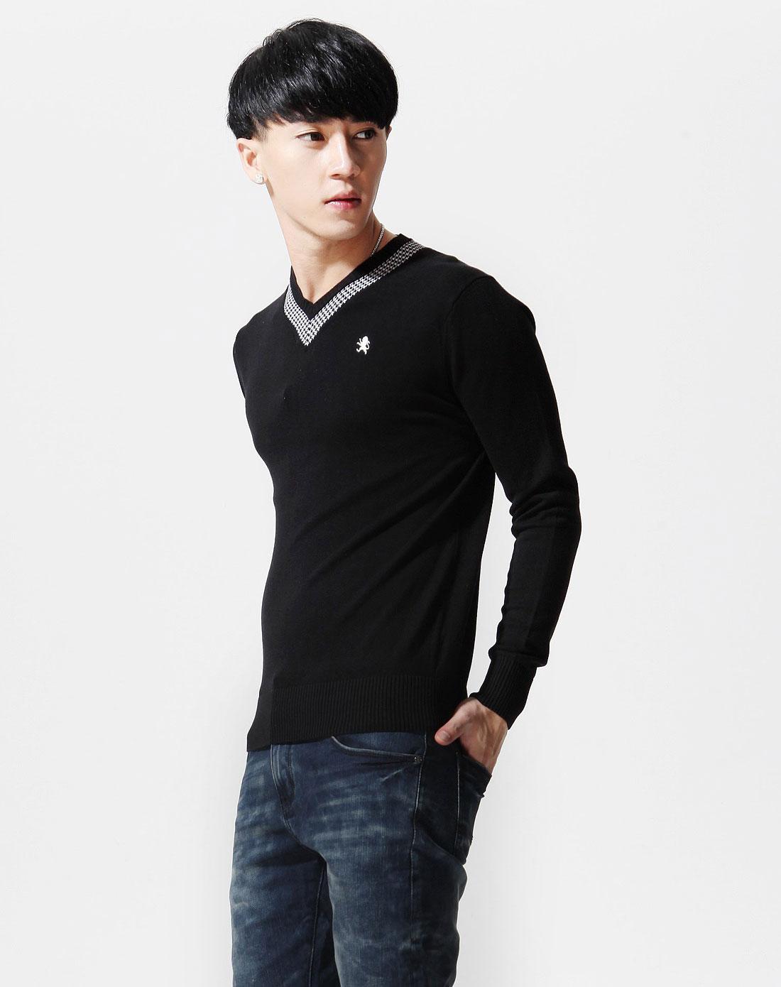 黑色v领千鸟纹长袖线衫