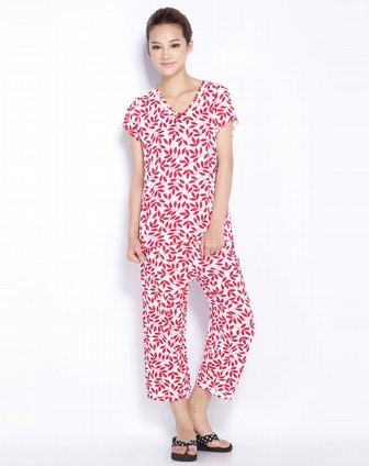 红色印花短袖九分裤套装 康妮雅家居服专场特价1.5 4.2折