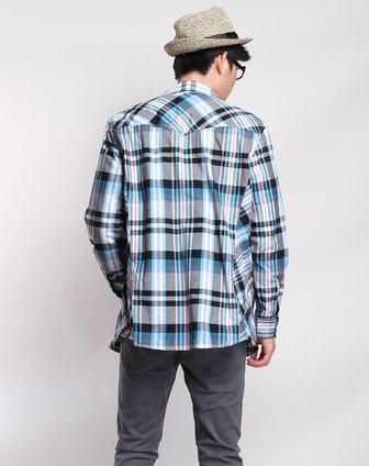 森马男装专场-浅蓝黑色时尚线纹长袖衬衫图片