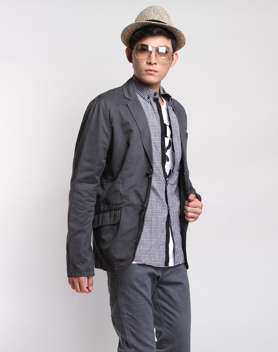 森马男装专场-冷灰色长袖休闲西装式外套