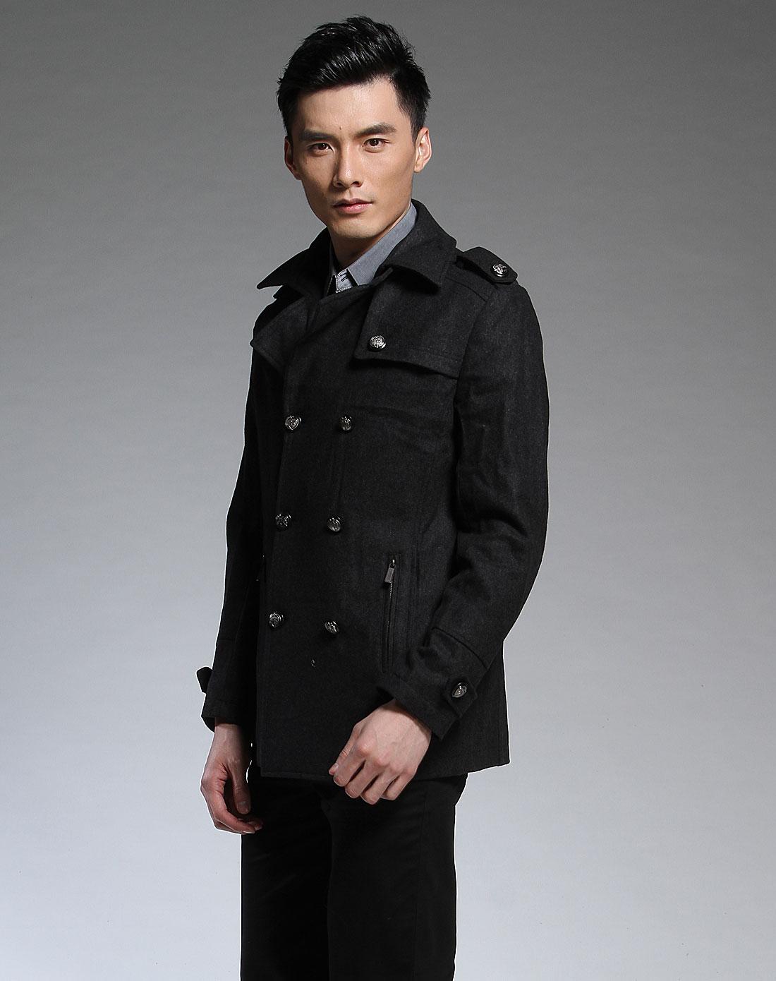款黑灰色帅气长袖大衣