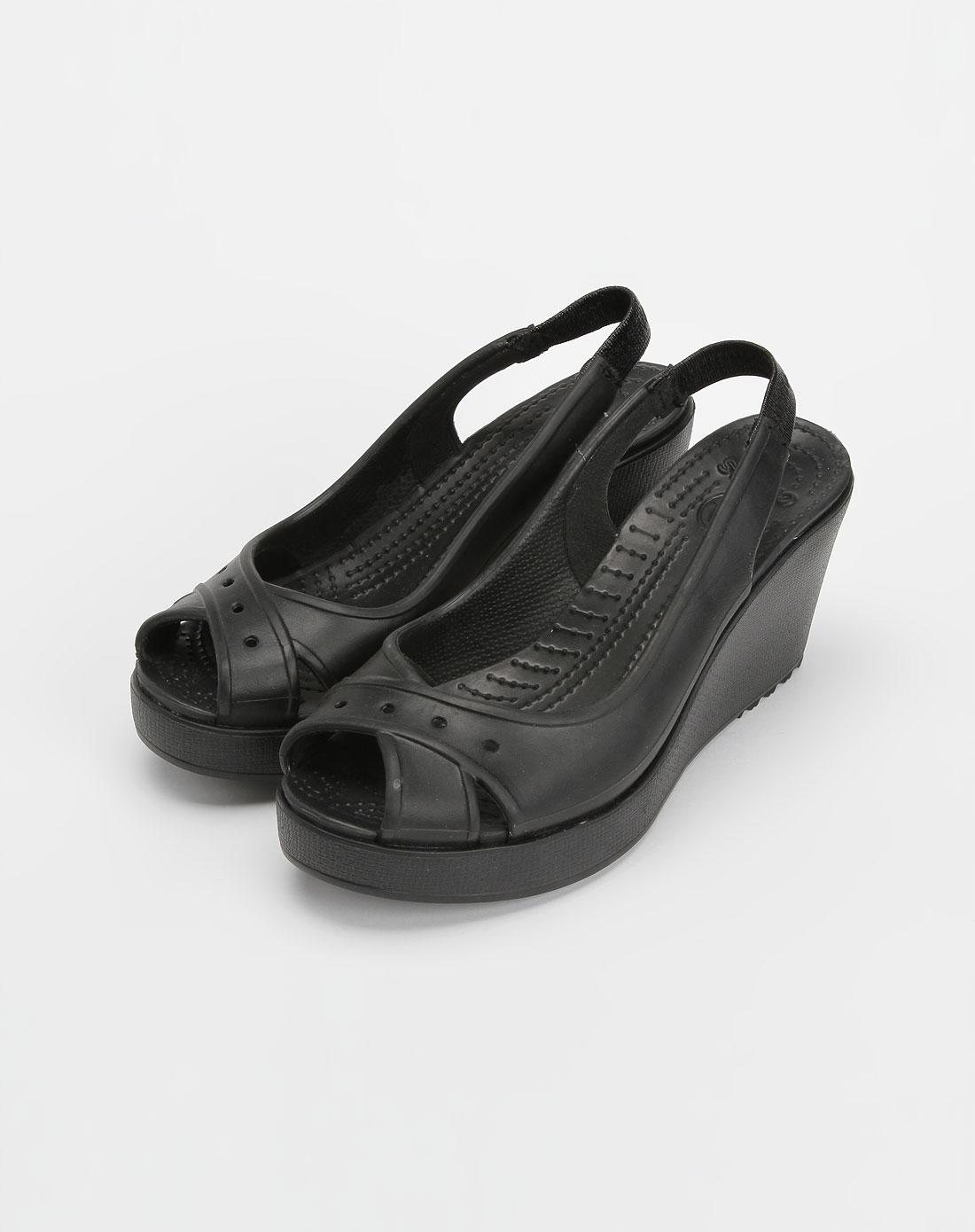 卡路驰crocs 黑色高跟休闲凉鞋