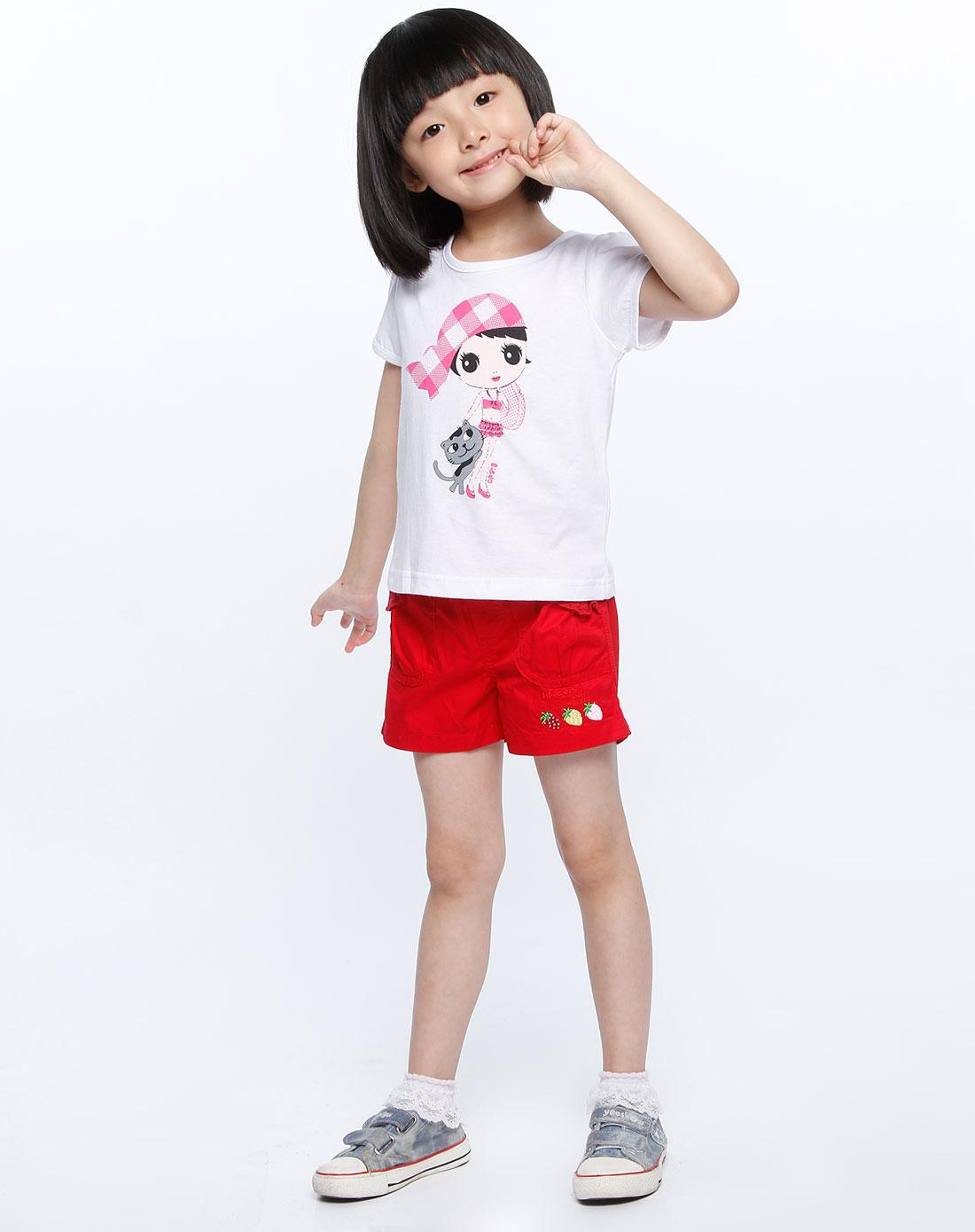 白色女孩图案短袖t恤_力果liguo女童装专场特价2-3