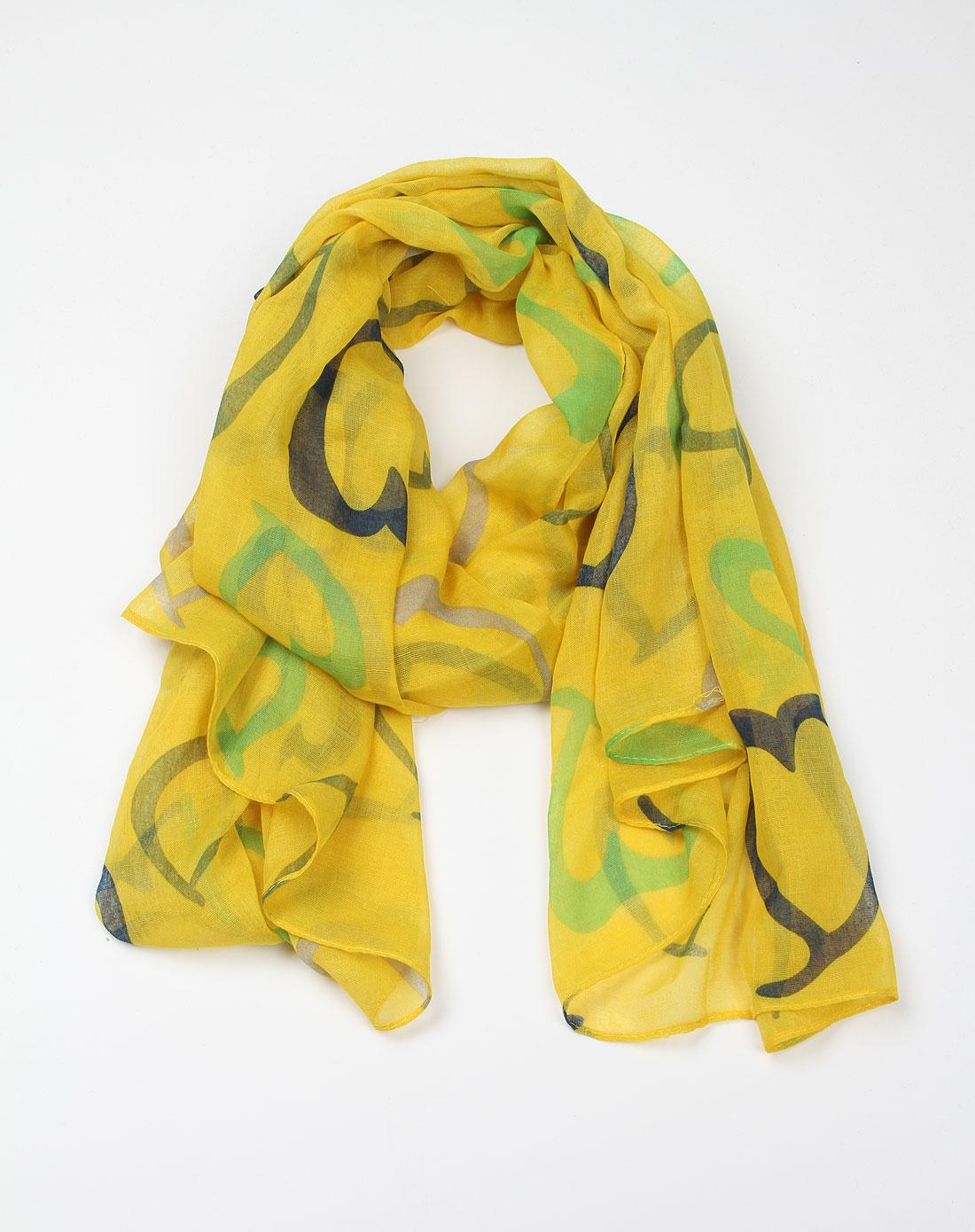 [ 嬷嬷茶 ] 黄色心形围巾图片