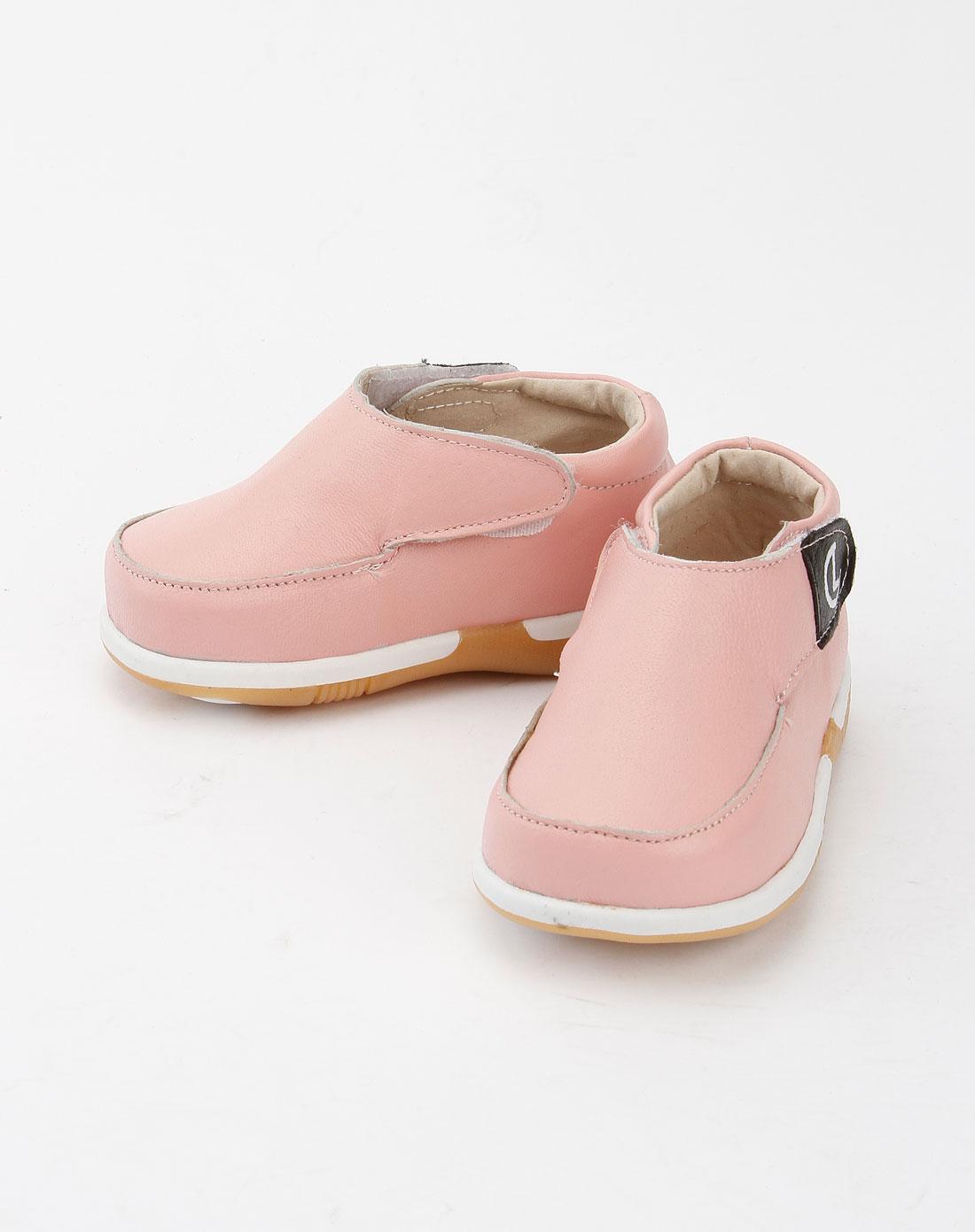 乐客友联luckyunion男女童鞋女童浅粉色休闲小皮鞋p