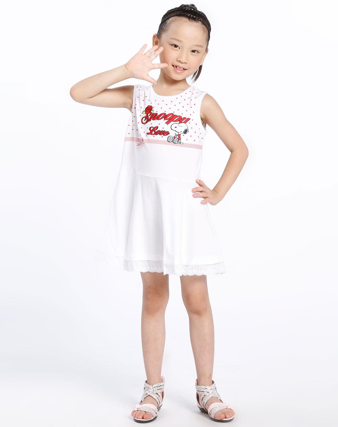 女童白/红色针织背心连衣裙