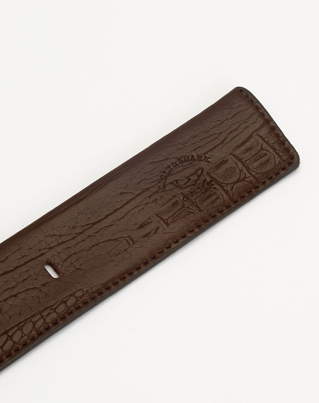 咖啡色仿鳄鱼纹针扣皮带
