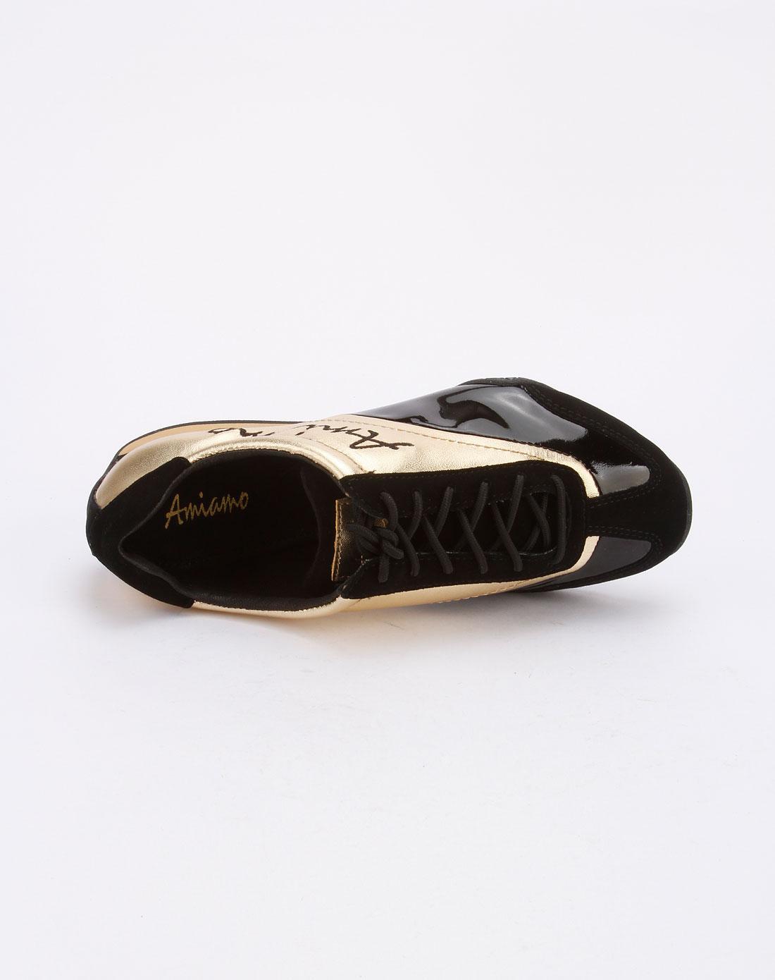 amiamo女款黑/金色系带休闲鞋11022802804-804