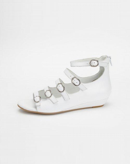 女款头层白色牛皮凉鞋