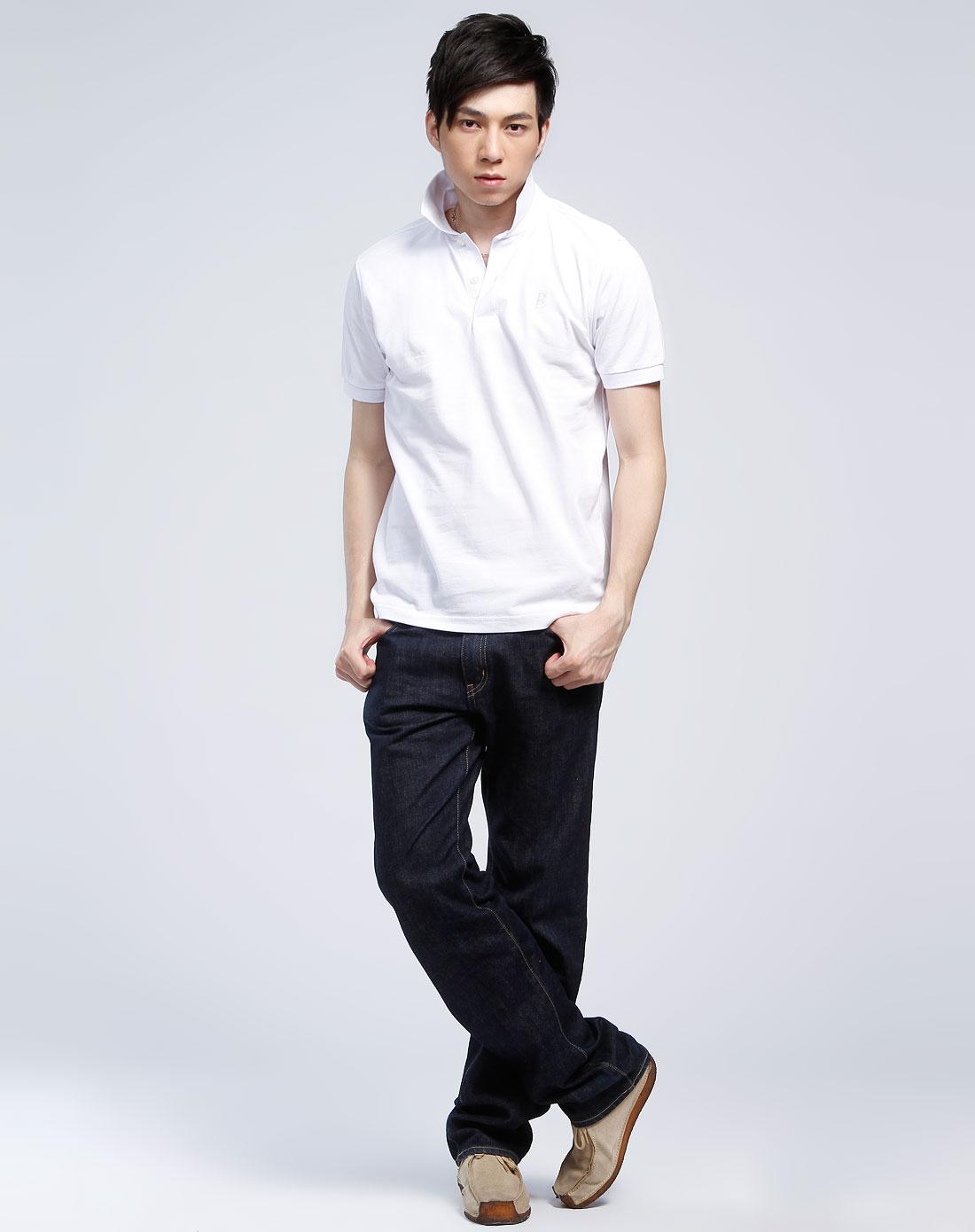 白色短袖休闲polo衫
