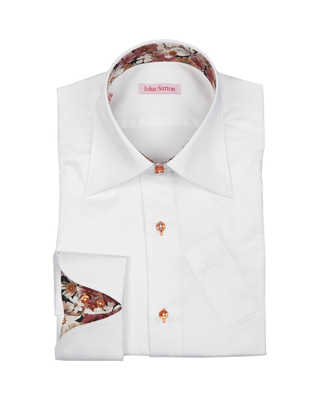 男款白/橙色花纹时尚长袖衬衫