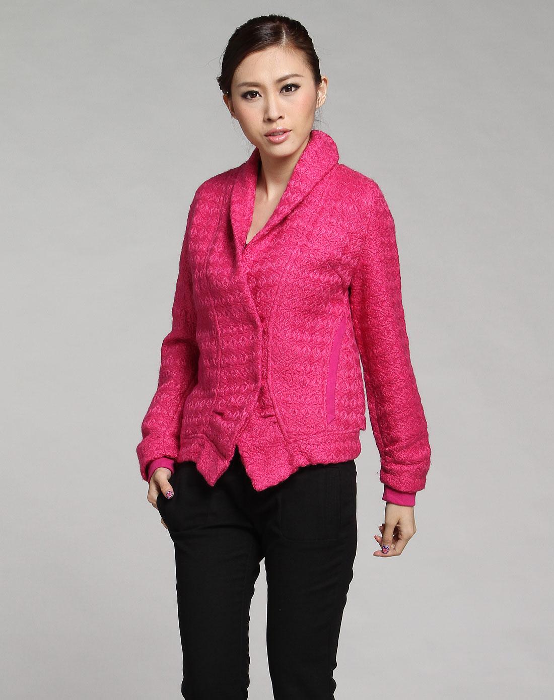 深玫红色时尚针织翻领长袖外套