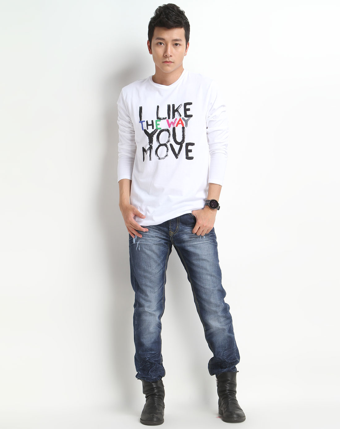 森马男装专场-白色印字母长袖t恤图片