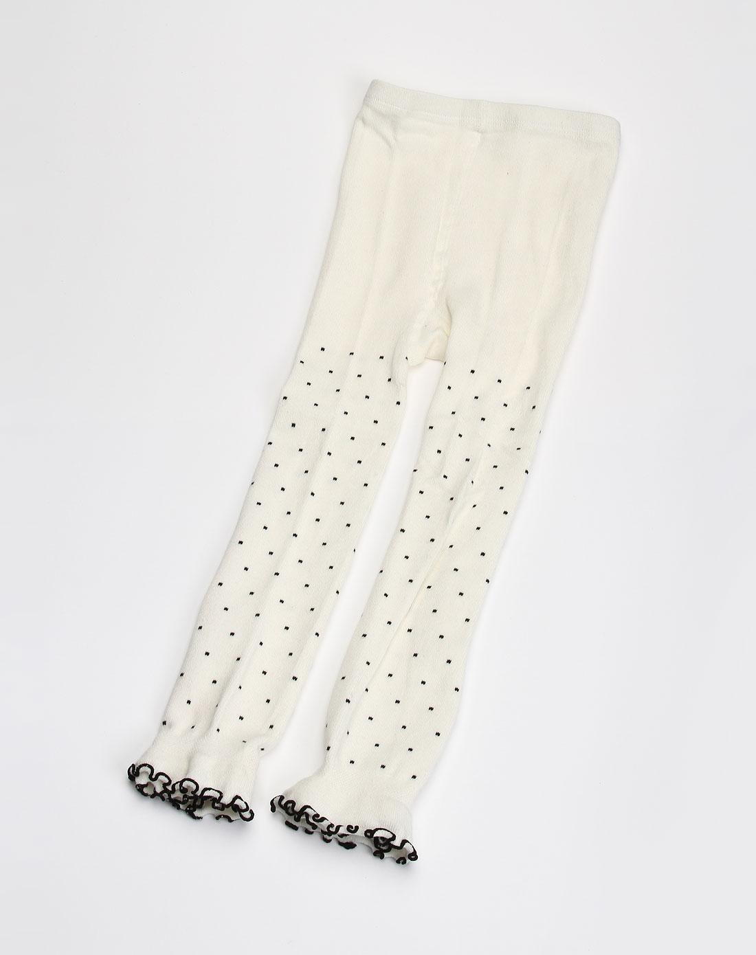 女童米白色小圆点印纹连裤袜