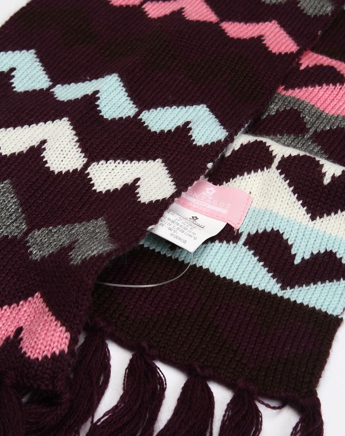 [ 梦特娇 ] 女童紫色心形图案毛线围巾图片