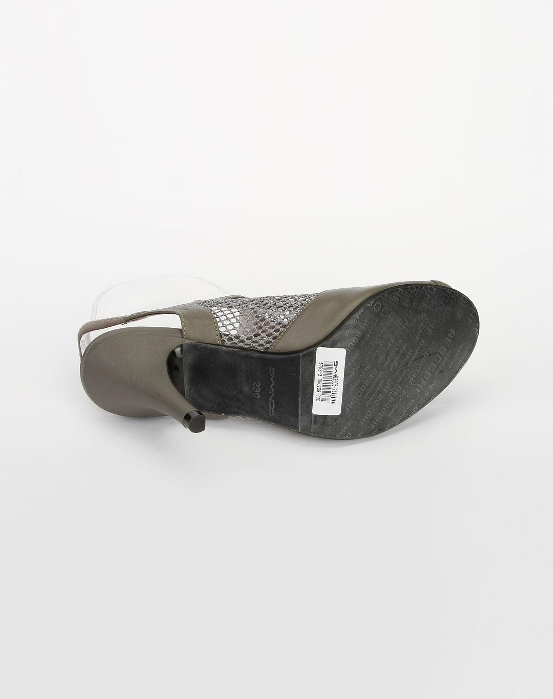 浅灰色烫钻网面高跟凉鞋