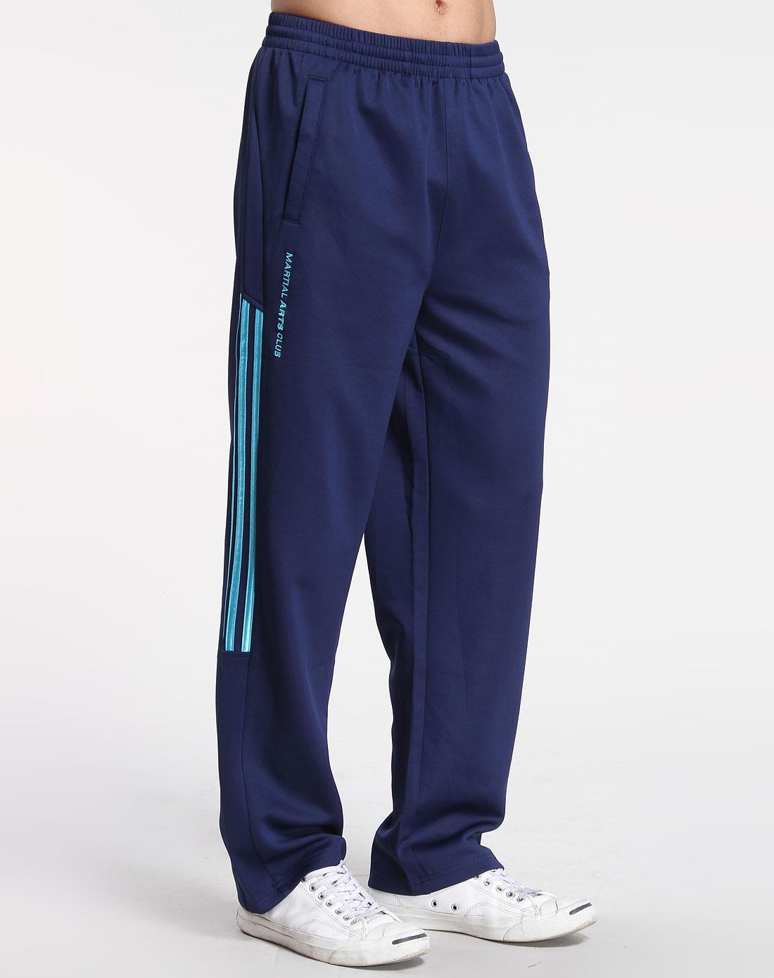 男款深蓝/浅蓝色时尚弹性运动长裤