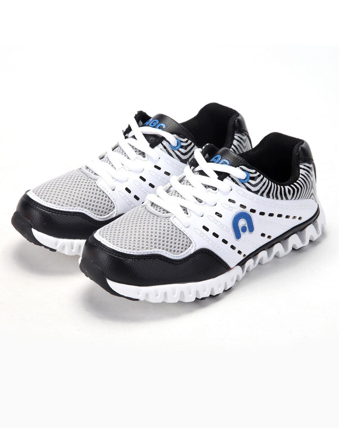 abckids男女童鞋男中童白/黑跑步运动鞋y2333310d