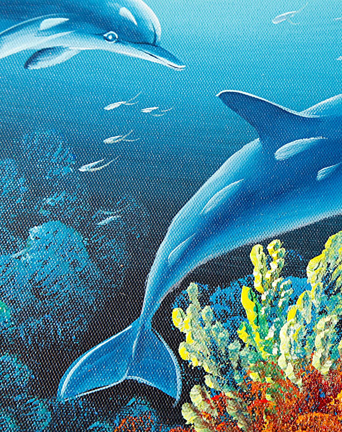 海豚-纯手绘油画(单幅)