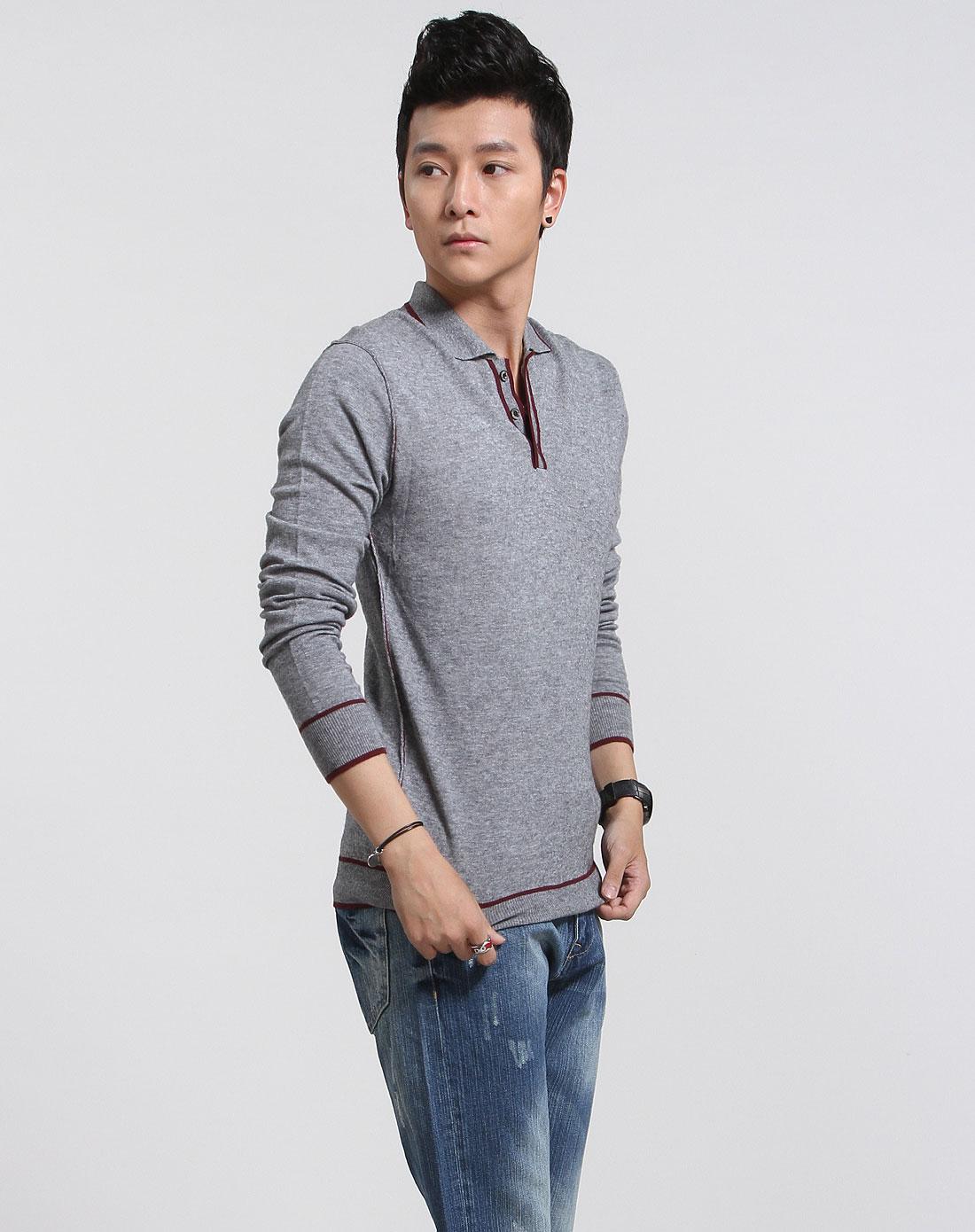 asobio男士专场-烟灰色休闲翻领长袖毛衫