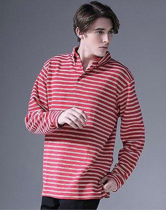 男红底白条品味条纹男士长袖t恤