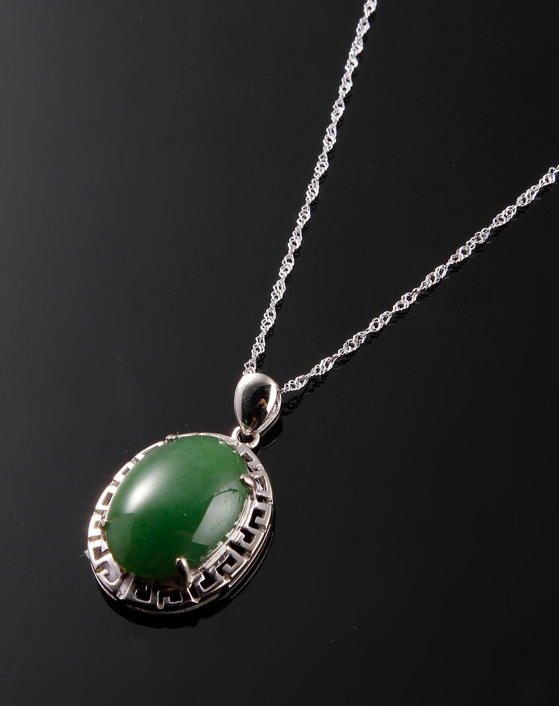 绿色椭圆形天然和田碧玉吊坠项链