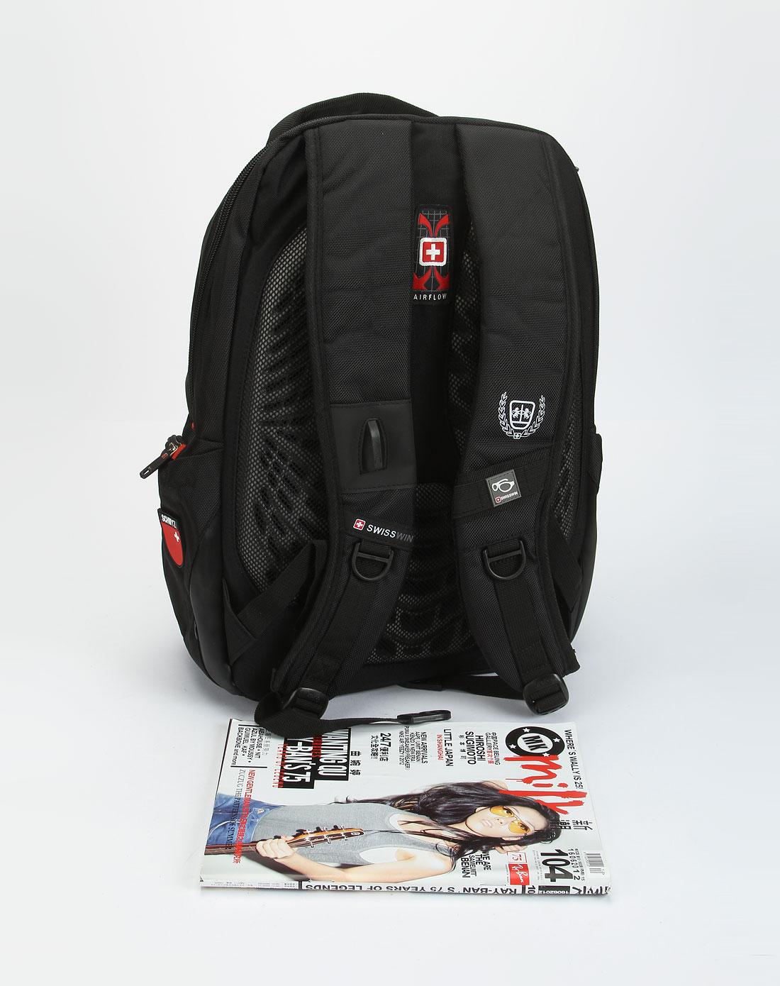 swisswin中性黑/红色时尚双肩电脑背包swd0027rd