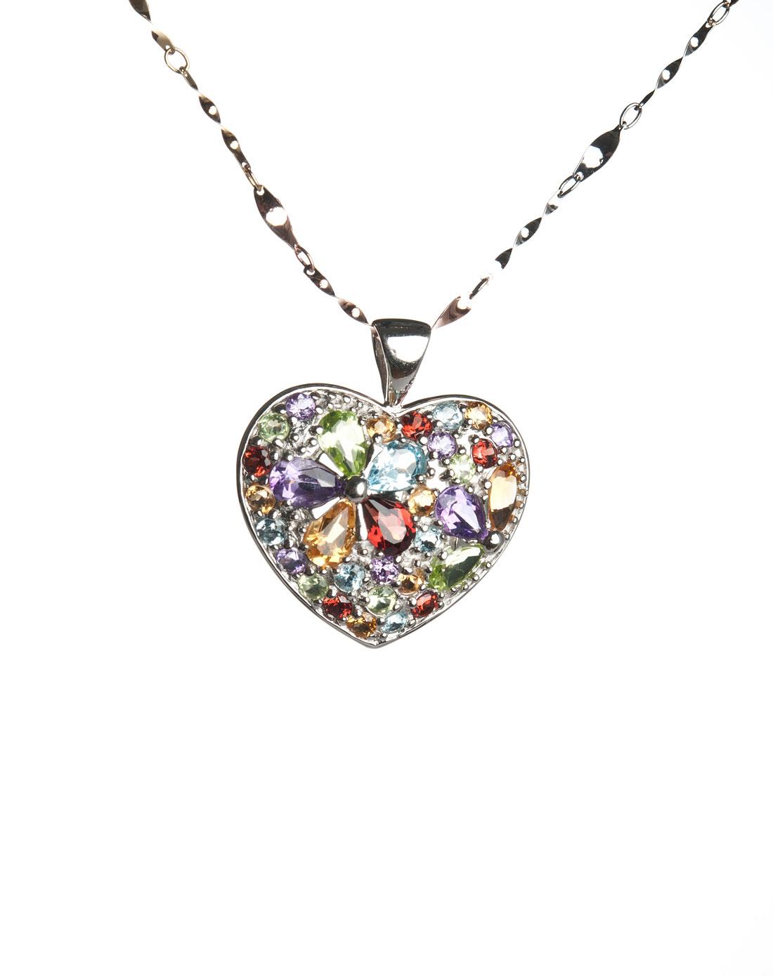 花开富贵彩色宝石吊坠