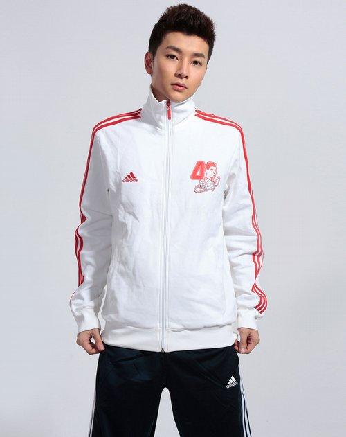 斯adidas男装专场红\/白色拉链长袖运动外套 价