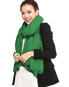 女款翠绿色布拉格系列吊珠围巾
