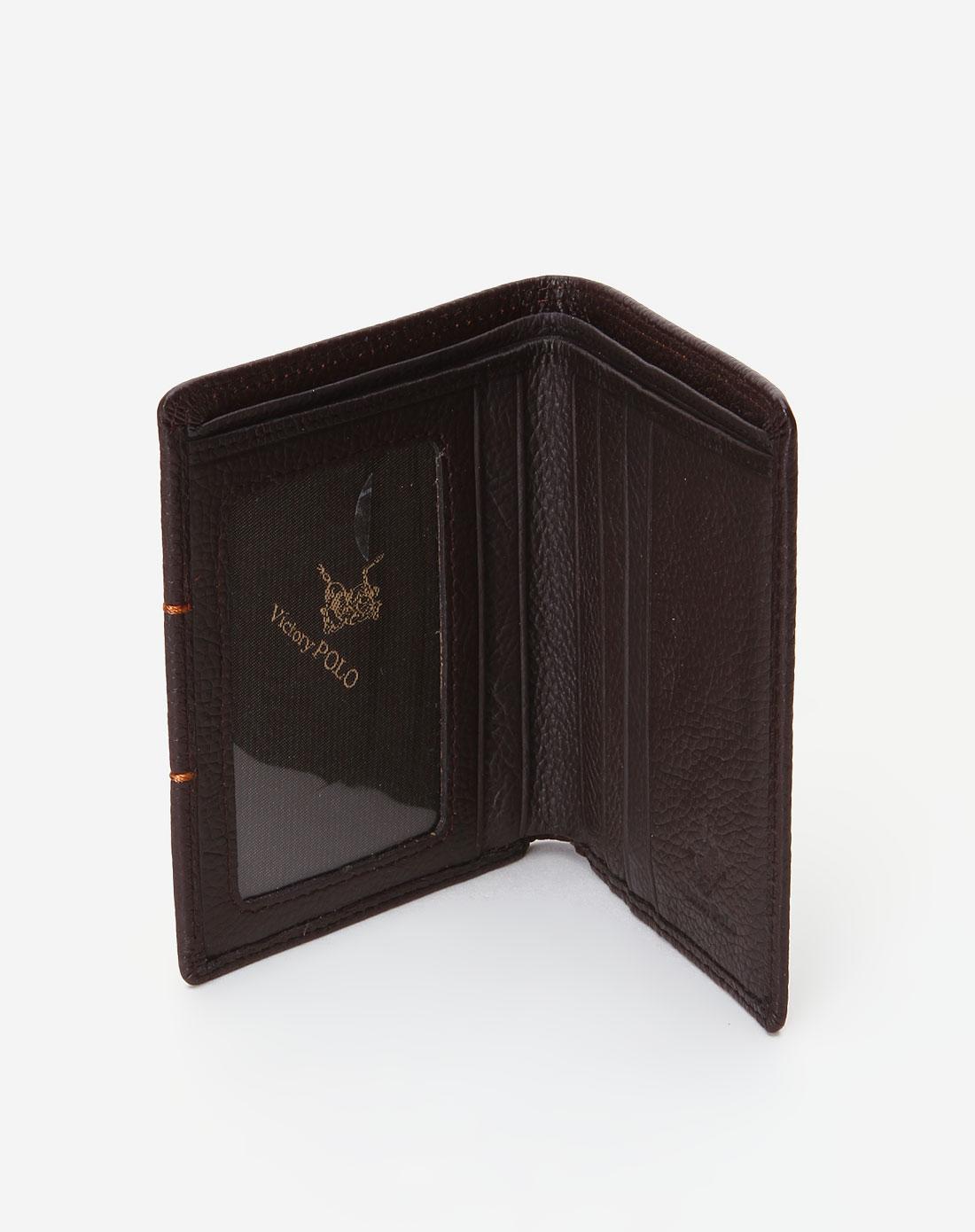 polo-男士深啡色简约印纹钱包