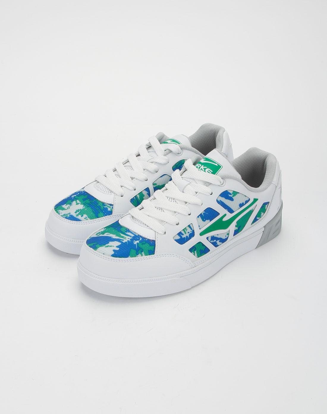 鸿星尔克erke男款正白色系带滑板鞋11112201081-001