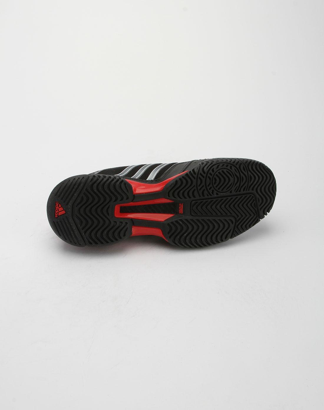 阿迪达斯adidas黑红拼金属银色网球运动鞋u44390
