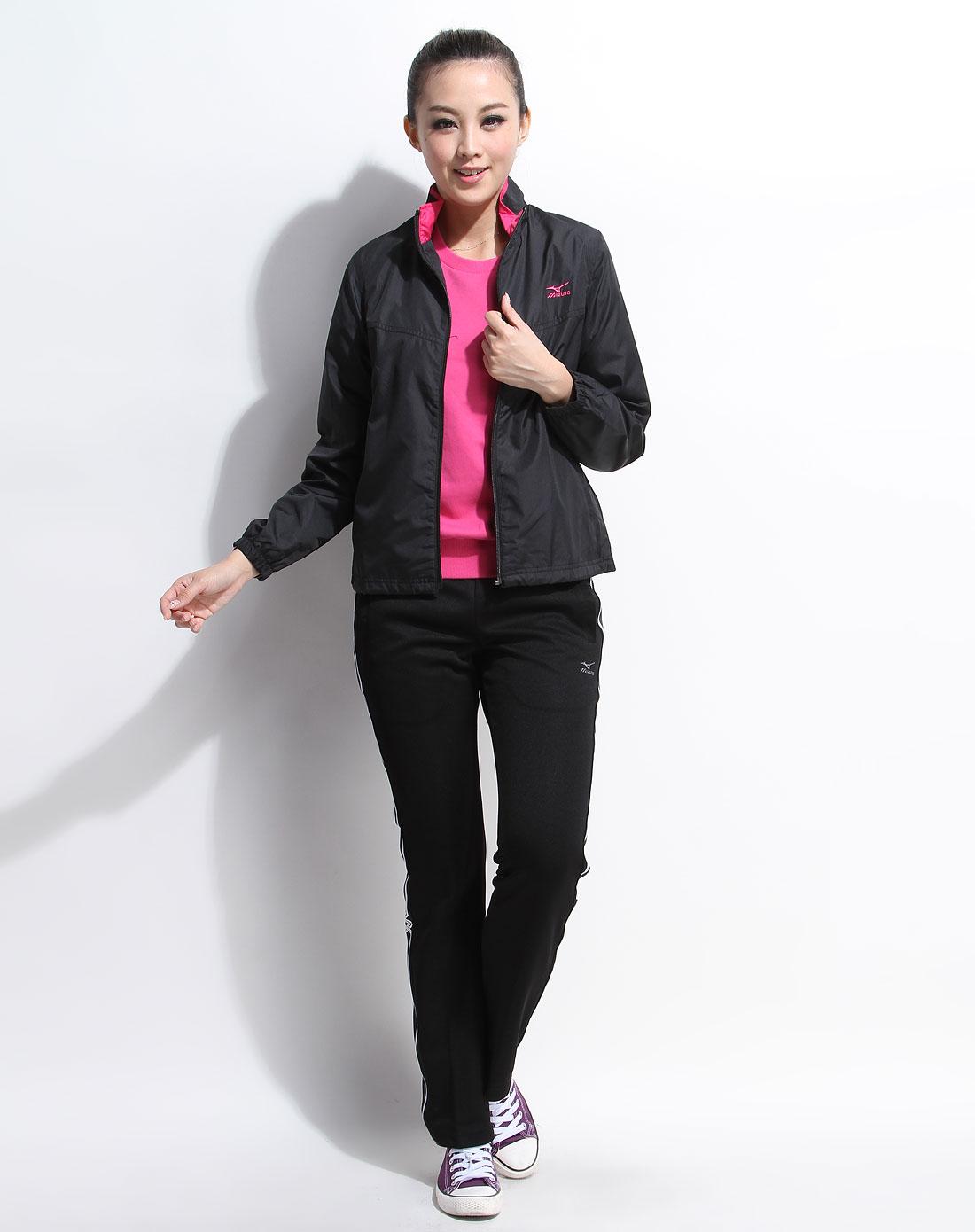 美津浓mizuno男女女款黑色时尚长袖防风上衣z57ws102