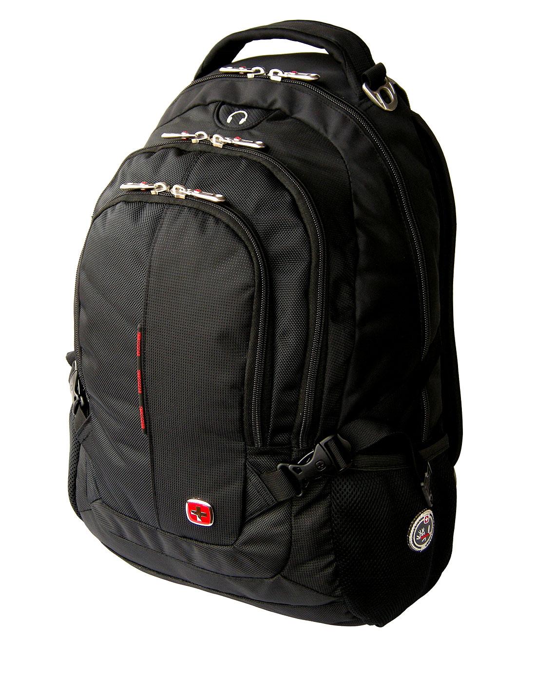 swisswin中性黑色简约双肩电脑背包sw9333bk