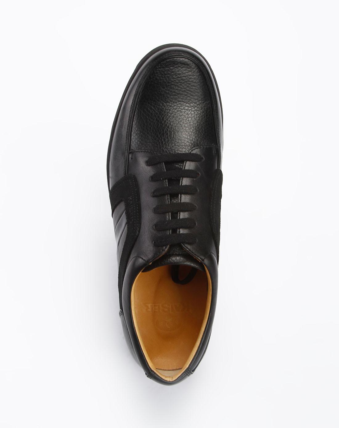 黑色压纹印logo时尚休闲皮鞋