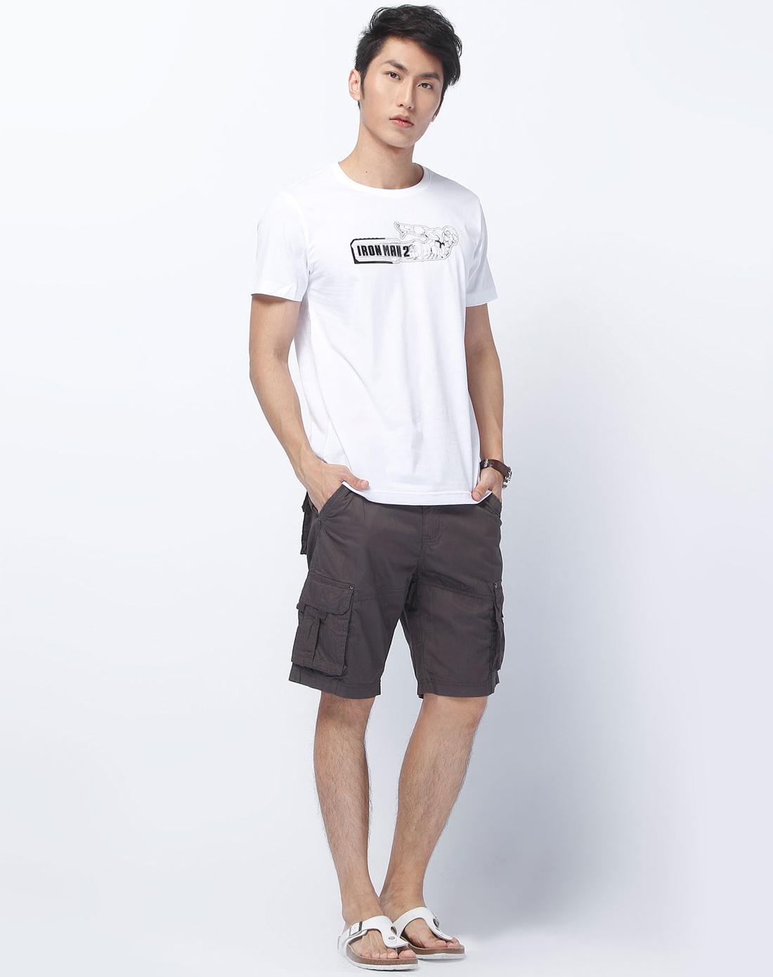 森马-男装白色烫图短袖t恤图片