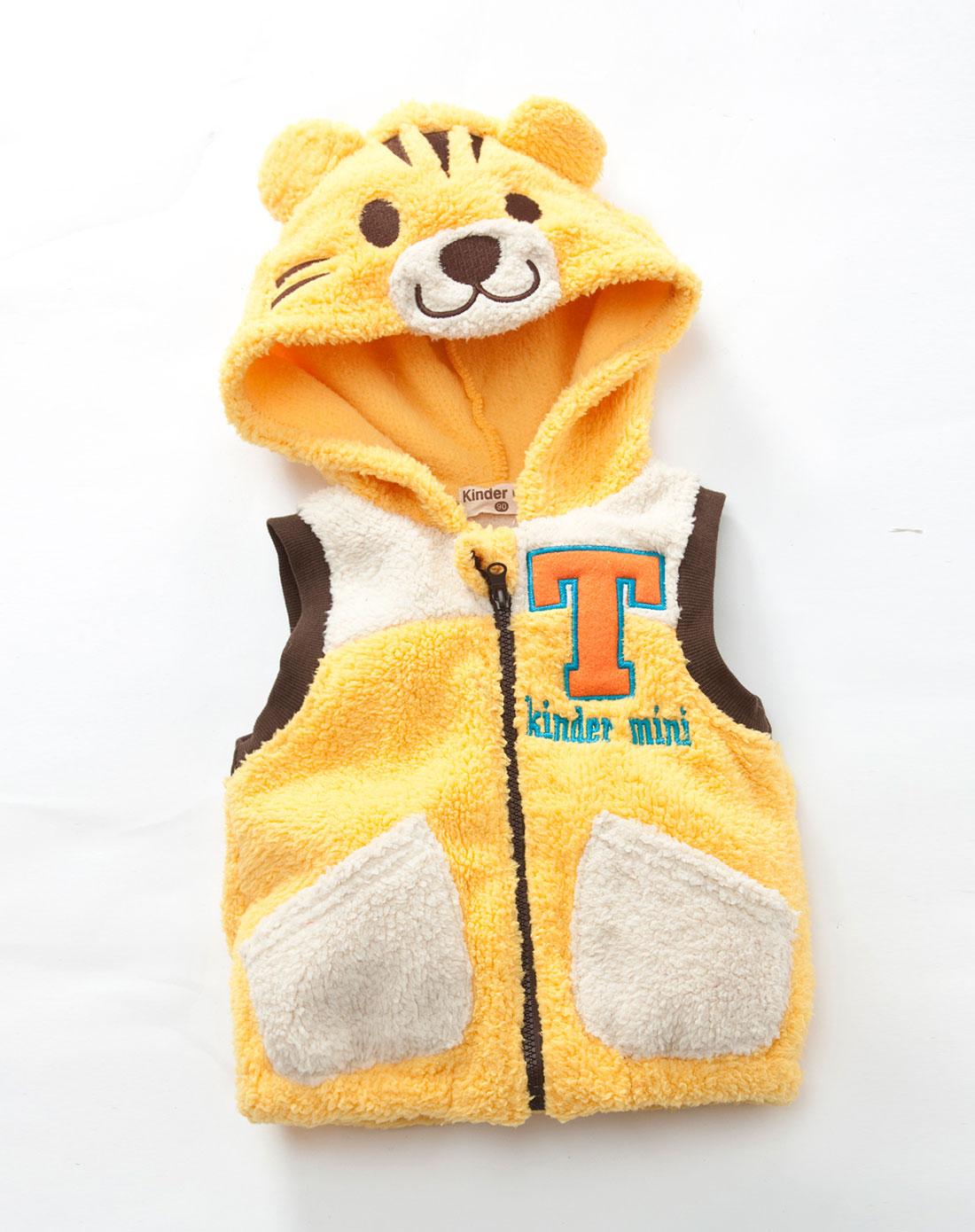 婴童黄色可爱玩偶老虎毛绒背心
