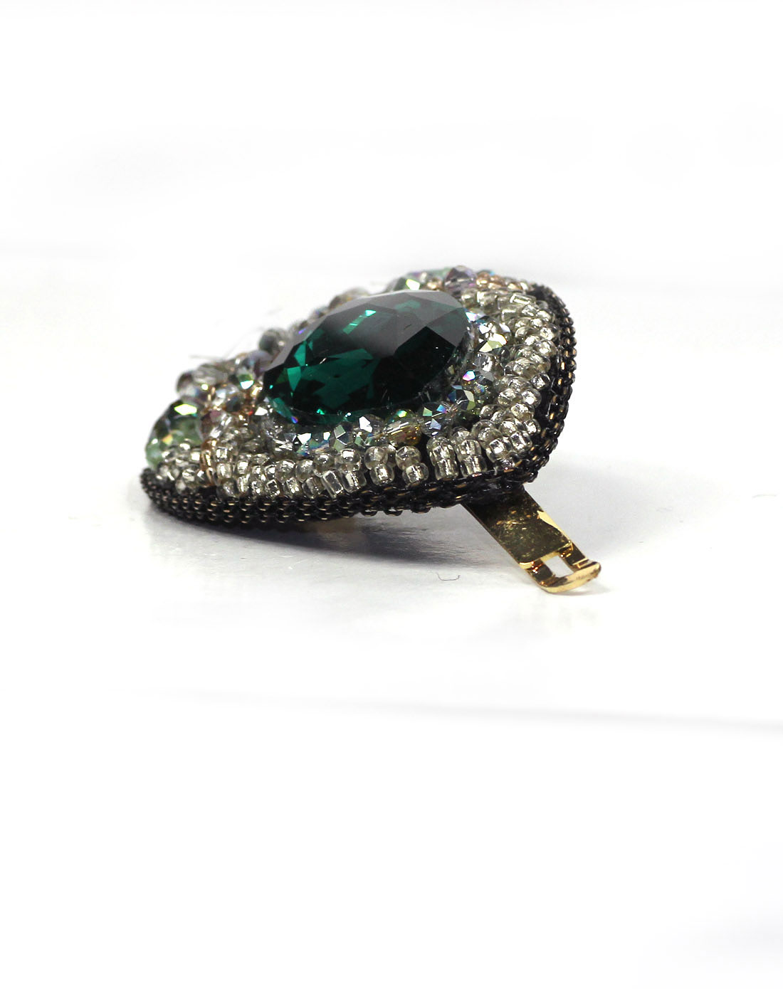 绿色水晶手工串珠孔雀羽边夹