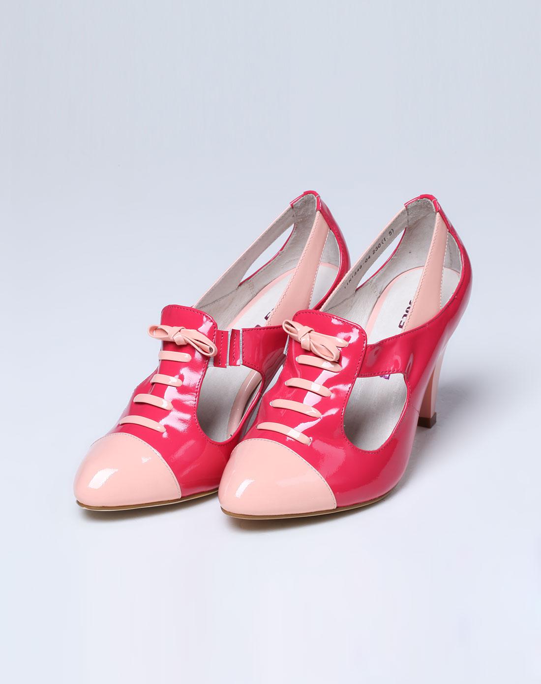 红/粉色时尚拼接高跟鞋