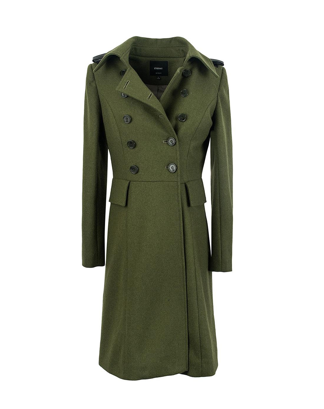 女款军绿色55%羊毛呢大衣