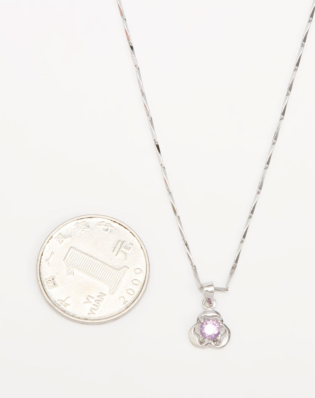 熣璨bright银/紫色爱心花瓣吊坠项链